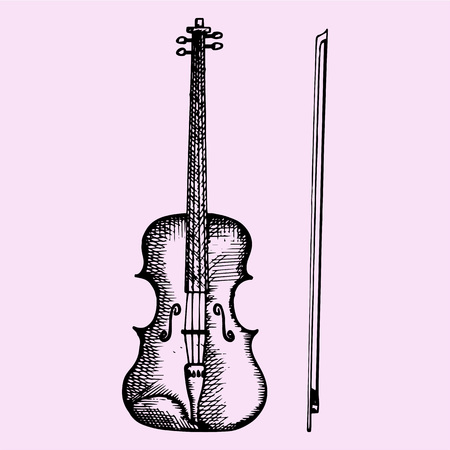 rehearsal: Violin and bow, doodle style, sketch illustration, hand drawn, vector