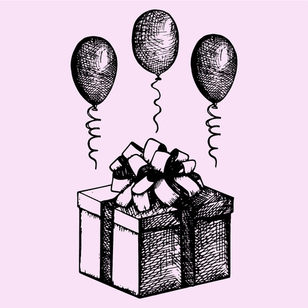 draw: gift in a box with balloons, doodle style, sketch illustration, hand drawn, vector