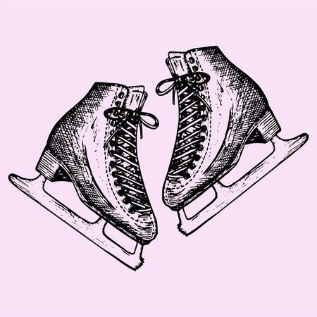 Figure skates, doodle style, sketch illustration, hand drawn, vector