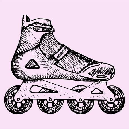 zapatos caricatura: patines de ruedas, estilo garabato, dibujo Ilustración, dibujado a mano, vector