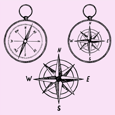 brujula: conjunto de la brújula, el estilo de dibujo, ilustración boceto, dibujado a mano, vector