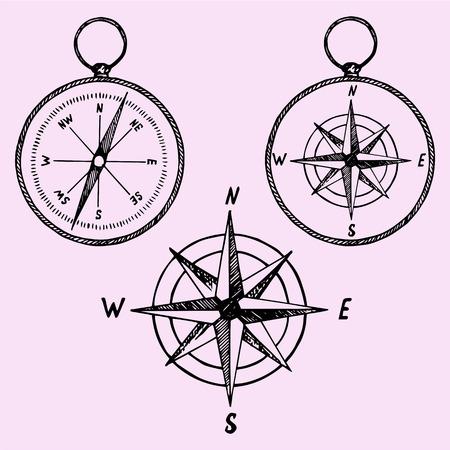 Satz des Kompasses, Doodle-Stil, Skizze Illustration, Hand gezeichnet, Vektor