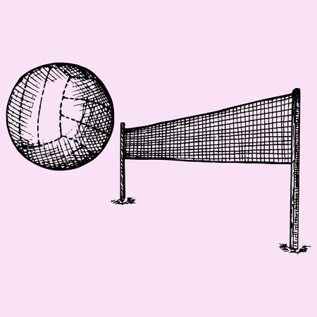 pelota de voleibol: Bal�n de voleibol y red de voleibol, ajuste, el estilo de dibujo, ilustraci�n boceto, dibujado a mano, vector Vectores