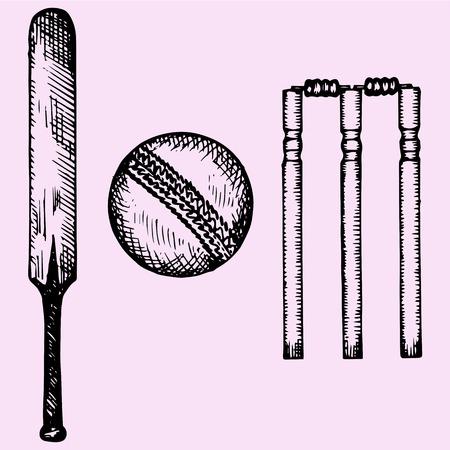 bate: Conjunto de equipos para el cricket: palo, bola, portillo, estilo de dibujo, ilustración boceto, dibujado a mano, vector