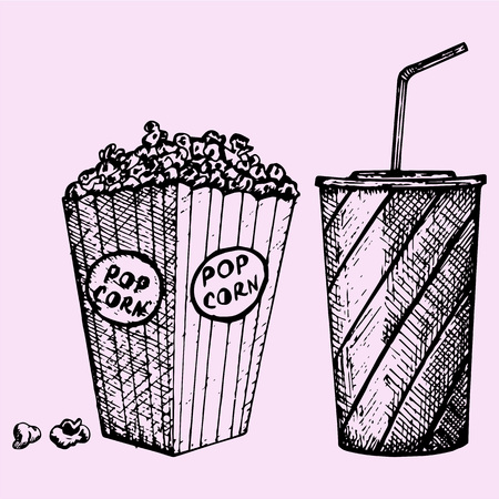 softdrink: set cinema popcorn and soda, doodle style, sketch illustration, hand drawn, vector