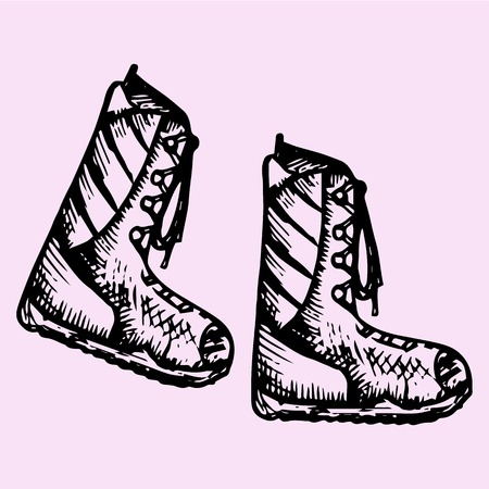zapatos caricatura: Botas de invierno, estilo garabato, dibujo Ilustración, dibujado a mano, vector
