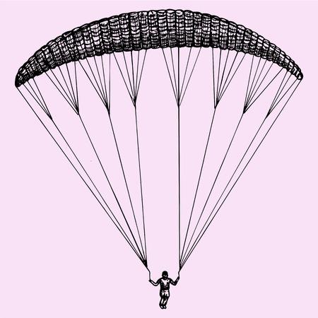 fallschirm: Gleitschirmfliegen, Fallschirm, Extremsport, Doodle-Stil, sketch illustration, hand gezeichnet, Vektor- Illustration