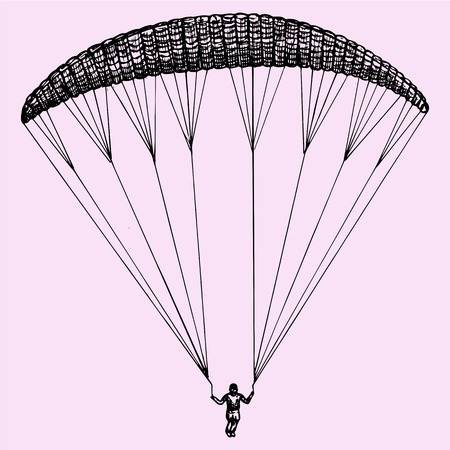 parachute: Paragliding, parachute, extreme sport, doodle style, sketch illustration, hand drawn, vector