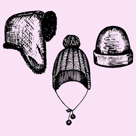 headwear: set of winter hats, headwear, doodle style, sketch illustration, hand drawn, vector