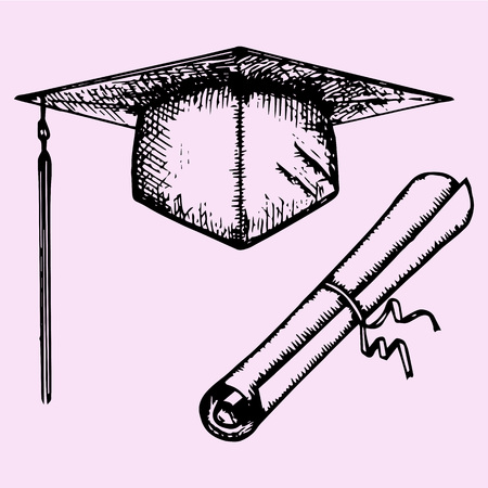 finishing: Graduation Cap with Degree and diploma, doodle style, sketch illustration, hand drawn, vector Illustration