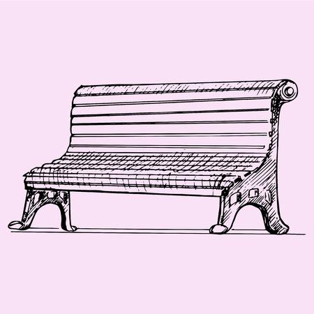 drawn metal: park bench, doodle style, sketch illustration Illustration