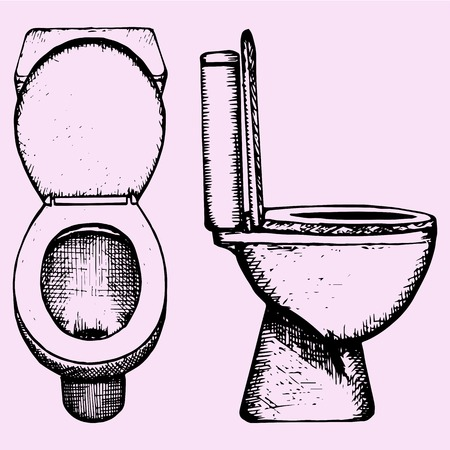 set ceramic toilet bowl in bathroom, hand drawn, doodle style, sketch illustration