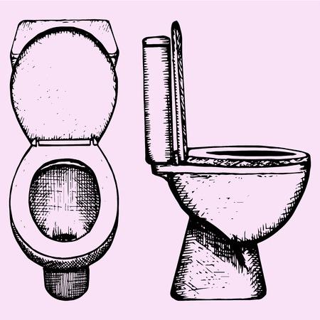 set ceramic toilet bowl in bathroom, hand drawn, doodle style, sketch illustration