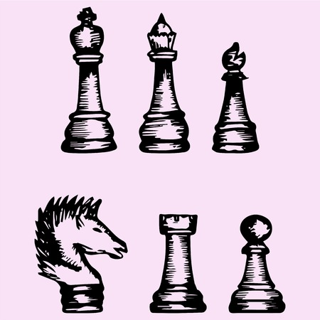 chess set: Set of chess piece, doodle style, sketch illustration