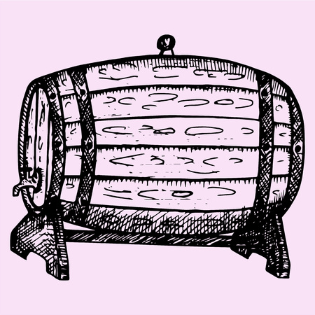 rum: wooden whiskey, beer, rum, wine barrel with tap, hand drawn, doodle style, sketch illustration