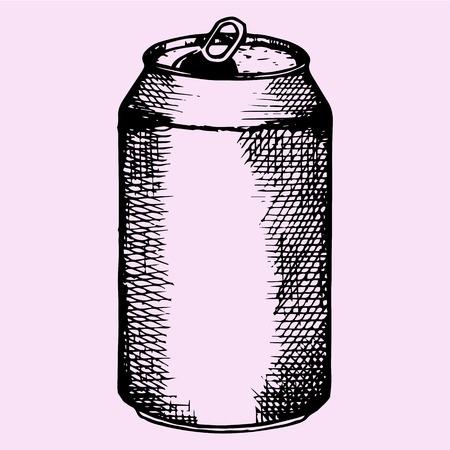 ビール、炭酸飲料、落書きスタイル、スケッチ図を開いたアルミ缶