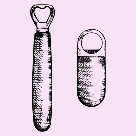 open: set of bottle opener, hand drawn, doodle style, sketch illustration Illustration