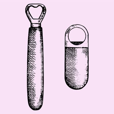 open hands: set of bottle opener, hand drawn, doodle style, sketch illustration Illustration
