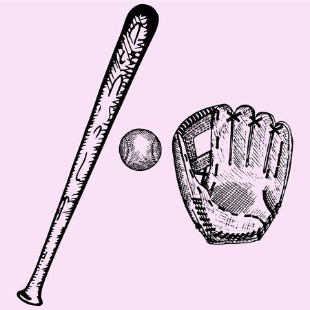 batte de baseball, balle et gant, ensemble, style de griffonnage, illustration croquis, dessiné à la main, vecteur
