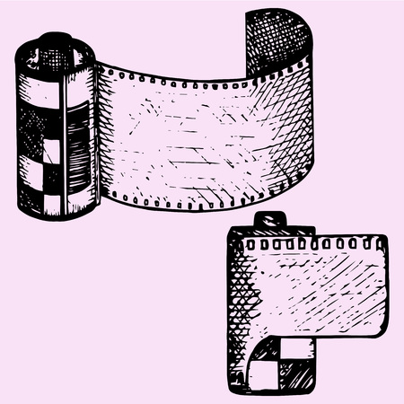 photo film: photo film in cartridge, camera film roll, set, doodle style, sketch illustration, hand drawn, vector