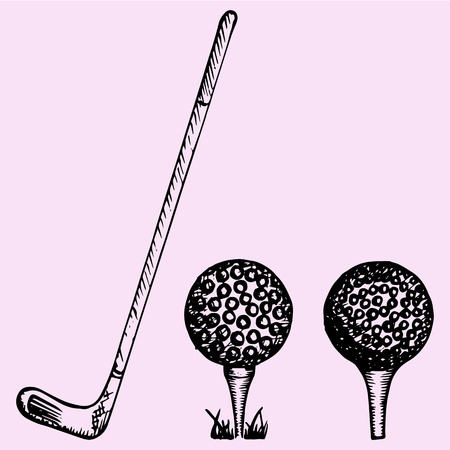 golf field: Golf club and ball, set, playing golf, doodle style, sketch illustration, hand drawn, vector Illustration