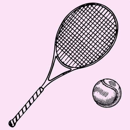 draw: Tennis racket and ball, doodle style, sketch illustration, hand drawn, vector