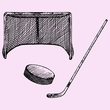 set of ice hockey elements: hockey stick, hockey goal and puck, doodle style, sketch illustration, hand drawn, vector