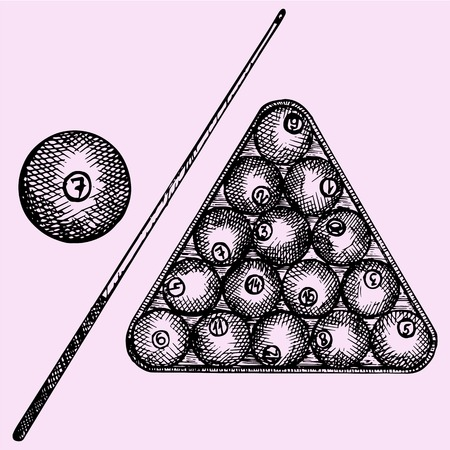 cue: Set of billiard balls in triangle, billiard ball and cue, doodle style, sketch illustration, hand drawn, vector