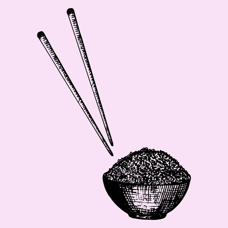 chopstick: bowl of rice and chopstick, Chinese food, doodle style, sketch illustration, hand drawn, vector