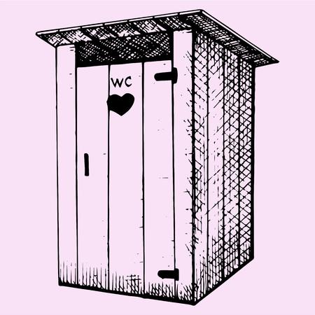 privy: rural wooden outdoors toilet, hand drawn, doodle style, sketch illustration Illustration