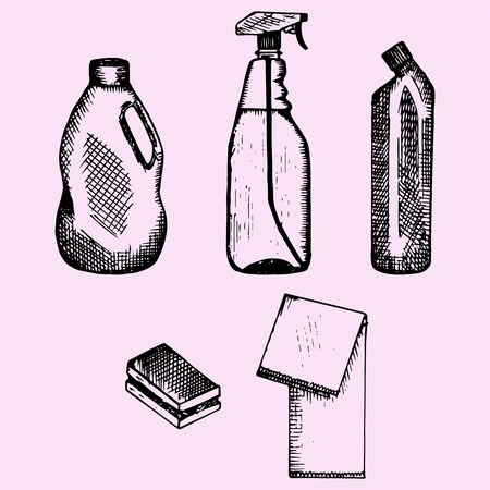 set of detergent container, sponge and cleaning cloth, doodle style, sketch illustration