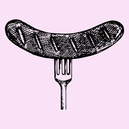 Salchicha a la parrilla en un tenedor, el estilo de dibujo, ilustración boceto, dibujado a mano, vector