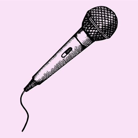 Microphone for Karaoke, doodle style, sketch illustration, hand drawn, vector Vettoriali