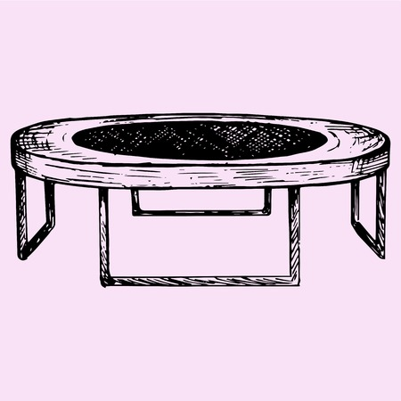 trampoline: fitness trampolin, doodle style, sketch illustration, hand drawn, vector