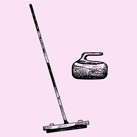 curling stone: Curling broom and stone, doodle style, sketch illustration, hand drawn, vector