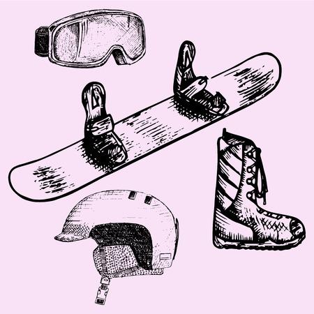 sport equipment: set of snowboarding equipment: snowboard, goggles, helmet, boots, doodle style, sketch illustration, hand drawn, vector