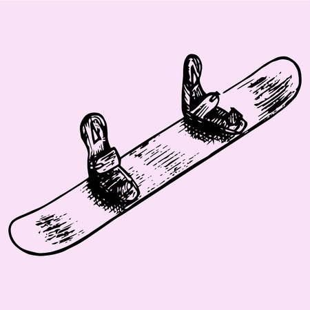 objects with clipping paths: Snowboard, doodle style, sketch illustration, hand drawn, vector Illustration