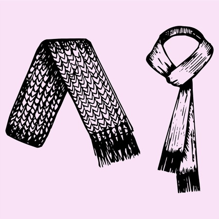 article of clothing: set of winter scarf, doodle style, sketch illustration, hand drawn, vector