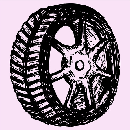 tire cover: Car wheel, tire, doodle style, sketch illustration, hand drawn, vector