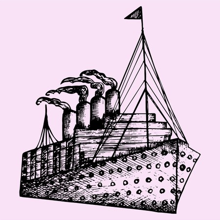 hand drown: ship, steamboat, steamship, doodle style, sketch illustration, hand drawn, vector
