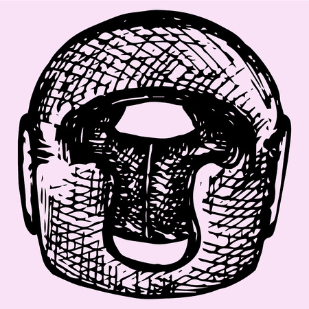attribute: Boxing helmet, doodle style, sketch illustration, hand drawn, vector