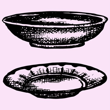 empty bowl: Empty bowl and plate, set. Doodle style, sketch illustration Illustration