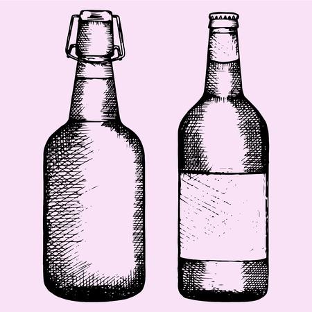 set bottle of beer, hand drawn, doodle style, sketch illustration Vector Illustration