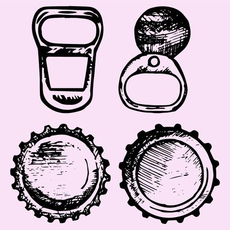 set of bottle caps, metal ring pull, doodle style, sketch illustration