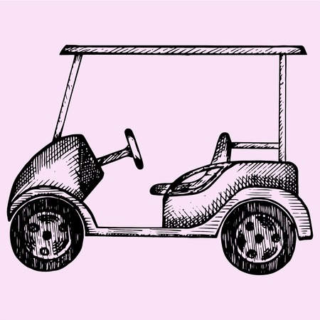 golf club: Golf cart, doodle style, sketch illustration, hand drawn, vector