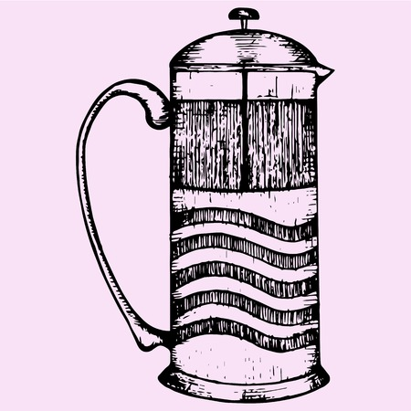 French Press Coffee or Teapot, doodle style sketch illustration hand drawn vector Illustration