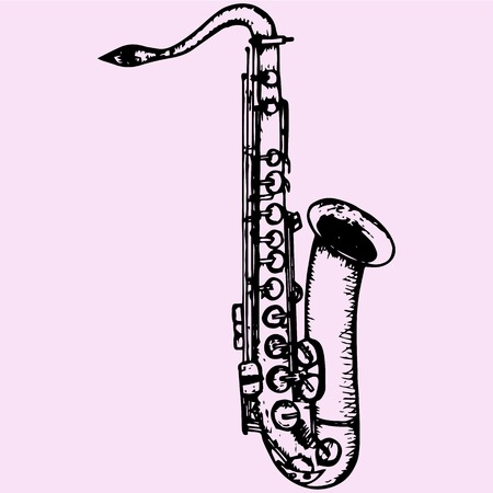 tenor: Classical saxophone doodle style sketch illustration hand drawn vector