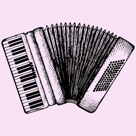 acordeon: Acordeón Instrumento musical doodle estilo ilustración boceto dibujado a mano vector