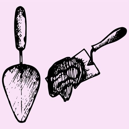hand trowel: set trowel, cement mortar doodle style sketch illustration hand drawn vector