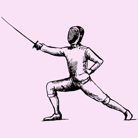 Fencing player doodle style sketch illustration hand drawn vector Illustration